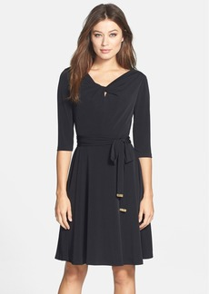 Tahari Belted Jersey A-Line Dress (Regular & Petite)