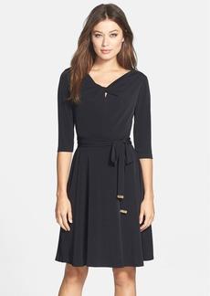 Tahari Belted Jersey A-Line Dress (Regular & Petite)