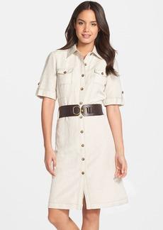 Tahari Belted Linen Blend Shirtdress (Regular & Petite)