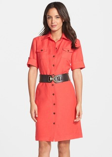Tahari Belted Linen Blend Shirtdress (Regular & Petite)