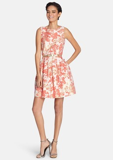 Tahari Belted Metallic Floral Jacquard Fit & Flare Dress