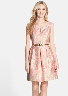 Tahari Belted Metallic Floral Jacquard Fit & Flare Dress (Regular & Petite)