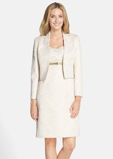 Tahari Belted Metallic Jacquard Sheath with Jacket