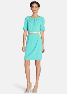 Tahari Belted Pleat Neck Sheath Dress