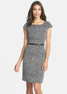 Tahari Belted Print Sheath Dress (Petite)