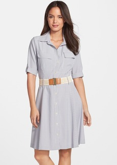 Tahari Belted Seersucker Shirtdress