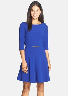 Tahari Belted Stretch Fit & Flare Dress (Regular & Petite)