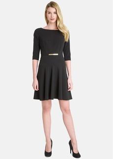 Tahari Belted Stretch Fit & Flare Dress (Regular & Petite)
