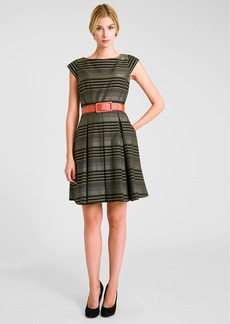 Tahari Belted Stripe Woven Fit & Flare Dress
