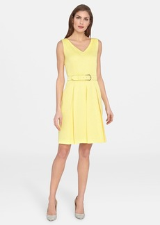 Tahari Belted V-Neck Fit & Flare Dress