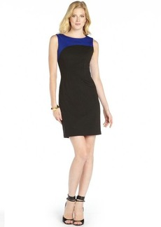Tahari black and blue stretch woven 'Audrina' colorblock dress