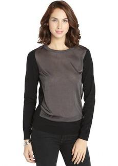Tahari black and grey knit 'Zarra' colorblock sweater