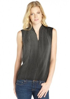 Tahari black and grey printed stretch woven 'Judith' sleeveless blouse