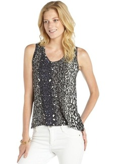 Tahari black and grey stretch 'Jonit' animal printed sleeveless tank
