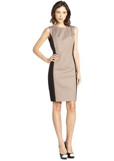 Tahari black and sandstone cotton blend 'Alexandra' sleeveless dress