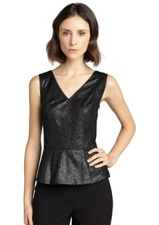 Tahari black and silver 'Tasha' peplum blouse
