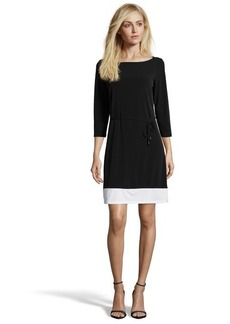 Tahari black and white stretch jersey color block dress