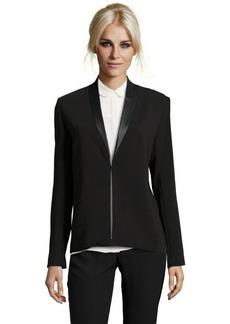 "Tahari black ""Blythe"" jacket with faux leather trim"