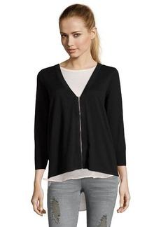 Tahari black cotton and crepe de chine mixed media zip cardigan