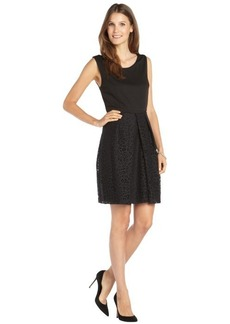 Tahari black cotton blend 'Daisy' lace bottom dress