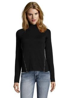 Tahari black cotton rib knit 'Broderick' zip slit mock neck sweater