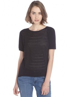 Tahari black eyelet cotton blend 'Savia' short sleeve hi-low sweater