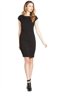 Tahari black faceted belted 'Logan' cap sleeve dress