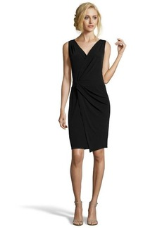 Tahari black jersey knit 'Vitra' faux wrap dress