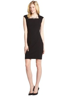 Tahari black 'Nancy' angled neck cap sleeve dress