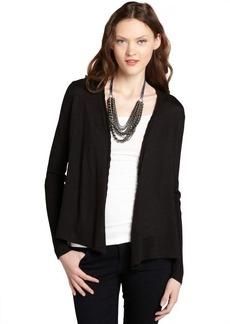 Tahari black open front cotton stretch cardigan