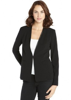 Tahari black stretch 'Bernice' jacket with faux leather trim