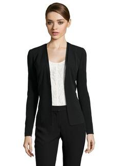 Tahari black stretch 'Bernice' jacket with faux leather trim