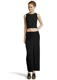 Tahari black stretch draped 'Savannah' maxi skirt