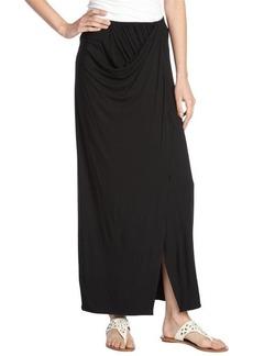 Tahari black stretch draped 'Savannah' maxi skirt