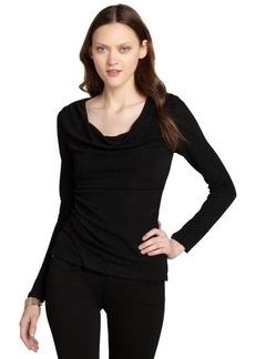 "Tahari black stretch glitter ruched long sleeve ""Glenda"" blouse"