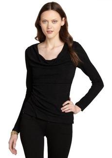 """Tahari black stretch glitter ruched long sleeve """"Glenda"""" blouse"""