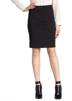 Tahari black stretch knit faux leather detailed reed skirt