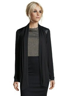 Tahari black stretch knit faux leather trim drape cardigan