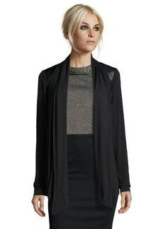 Tahari black stretch knit faux leather trim drape cardigan