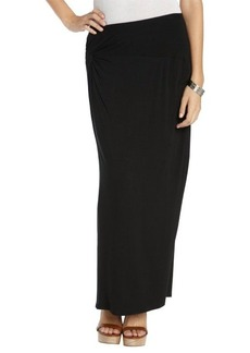 Tahari black stretch knit 'Gemma' fitted maxi skirt with knot detail