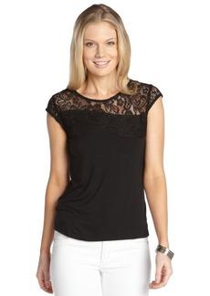 Tahari black stretch 'Terena' lace accent cap sleeve top