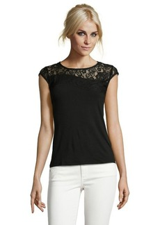 Tahari black stretch 'Terena' lace accent cap sleeve top