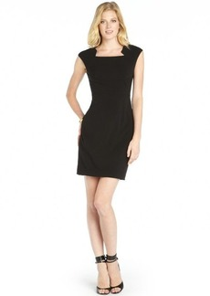 Tahari black stretch woven cap sleeve 'Bernadette' dress