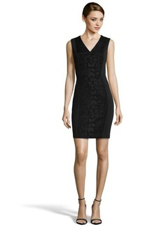 Tahari black textured 'Arvis' v-neck sheath dress