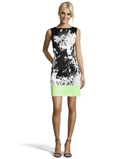 Tahari black, white and lime green floral printed woven 'Margarita Holly' sleeveless dress