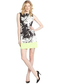 Tahari black, white and lime green 'Margarita Holly' sleeveless dress