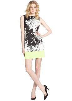 Tahari black, white and lime green 'Margarita Holly' sleeveless dress