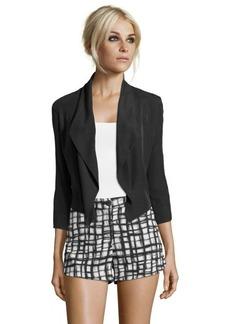 Tahari black woven 'Farella Bolero' cropped tuxedo jacket