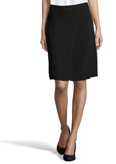 Tahari black woven 'Larissa' pleated knee length a-line skirt