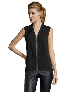 Tahari black woven 'Tessa' zip front sleeveless blouse